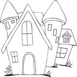 Freehand drawn cartoon castle. Doodle Freehand drawn cartoon castle Stock Illustration