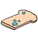 Freehand drawn cartoon mouldy bread Royalty Free Stock Photography