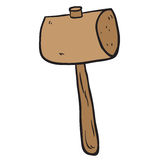 Freehand drawn cartoon wooden mallet Stock Image