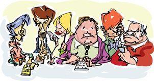 Freehand drawn characters, everybody is mobile communicating. Showing several characters, from old to young, using their digital communicating devices, cartoon Stock Photography