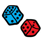 Freehand drawn dices Royalty Free Stock Photo