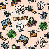 Freehand drone pattern - with box, top view Royalty Free Stock Photo