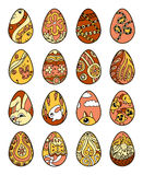 Freehand easter eggs  on white background Stock Photography