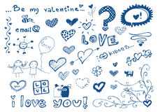 Freehand elements with love / doodles set / vector Stock Photography