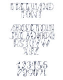 Freehand hand drawn font with english letters from a to z, numbers from 0 to 9. Alphabet sequence drawn with dots, strokes and lin Stock Photo