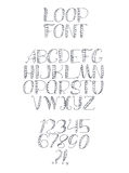 Freehand handdrawn loop alphabet,  on white background. Stock Photos