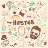Freehand Hipster Elements Set. Hand Drawn Vintage Fashion Doodle Royalty Free Stock Photo
