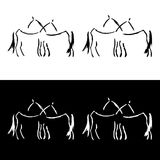 Freehand horse logo. More and less detailed versions Royalty Free Stock Photography