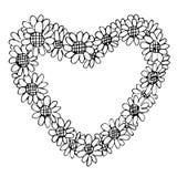 Freehand illustration of retro flower design heart shape Stock Photography