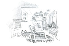 Freehand interior sketch of living room with furniture, top view Royalty Free Stock Image