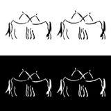 Freehand koński logo Więcej i mniej szczegółowych wersj Fotografia Royalty Free
