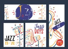 Freehand line art Jazz Music banner set. Music festival promotion creative concept with colorful lines.  Stock Photo