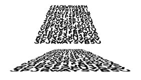 Freehand - marker drawn letters and numbers grid distorted onto 3D plane. Rugged, hand drawn, thick marker lines based strict grid pattern in black and white Stock Image