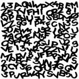 Freehand - markier rysujący pisze list i liczby heblują przypadkowy rozdzielonego ilustracji