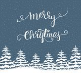Freehand Merry Christmas Vector Illustration White Fir Trees in Forest Snowfall Lettering. Navy Blue Background. New Year Stock Photography
