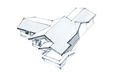 Freehand monochrome изображение дома Стоковое фото RF