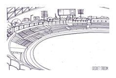 Freehand nakreślenie krykieta stadium z rzędami siedzenia, elektroniczna tablica wyników, trawiasty pole i gazon, Arena sportowa  ilustracja wektor
