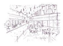 Freehand nakreślenie, krzesła stoi na mieście i ilustracja wektor