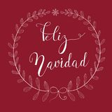 Freehand Pencil Doodle Sketchy White Wreath Twigs Leaves Bow Snowflake. Brush Lettering. Dark Red  Background. Feliz Navidad Text Stock Photo