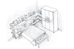 Freehand pencil drawing of bedroom interior, black and white Stock Photography