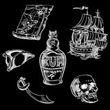 Freehand pirate set for your design. Hand drawn pirate elements Stock Photography