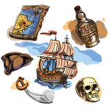 Freehand pirate set for your design. Hand drawn pirate elements Stock Photo