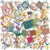 Freehand rysujący gęsty markier wykłada zasadzoną abstrakcjonistyczną grafikę w żywych kolorach, Zdjęcie Royalty Free
