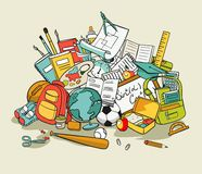 Freehand school items in a pile Royalty Free Stock Images