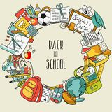 Freehand school items in a pile Stock Images