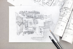 Freehand sketch architectural drawing of living room with pencil Royalty Free Stock Images