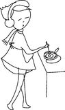 Freehand sketch cartoon girl cooking Stock Photos