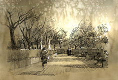 Freehand sketch of city park walkway Stock Images