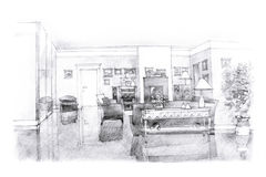 Freehand sketch of a drawing room. Interior freehand black and white picture of a lounge area with a fireplace Royalty Free Stock Image