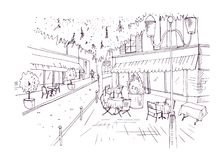 Freehand sketch of European outdoor cafe or coffeehouse with tables covered by tablecloths and chairs standing on city. Street hand drawn with contour lines on Stock Photo