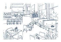 Freehand sketch of furnished interior of fancy restaurant or bistro hand drawn with contour lines on white background. Rough drawing of modern cafe or coffee Royalty Free Stock Images