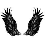 Freehand sketch illustration of angel wings Royalty Free Stock Photo