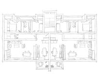 Freehand sketch illustration of furnished apartment. 3d freehand sketch illustration of furnished apartment Royalty Free Stock Photography