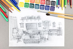 Freehand sketch of living room with watercolor paints, brushes and felt tips Stock Image