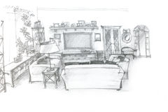 Freehand sketch perspective architectural drawing of living room Royalty Free Stock Photo