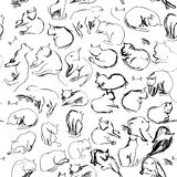 Freehand sketch seamless patern with black cats on a white background Royalty Free Stock Images