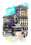 Freehand watercolor travel card from Rome Italy, old italian imp Stock Photography