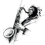 Freehanding drawing of a jazz saxophonist Stock Images