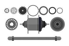 Freehub del detalle de la bicicleta stock de ilustración