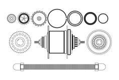 Freehub del detalle de la bicicleta ilustración del vector