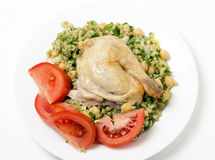 Freekeh chickpea and chicken salad Royalty Free Stock Photography