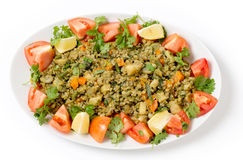 Freekeh vegetable pilaf from above Stock Photos