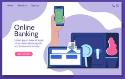 Online banking and transfer money. User experience royalty free illustration
