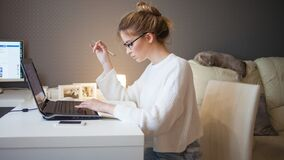 Freelance And Remote Work. Home Office, A Young Professional Woman, Stayed At Home And Works Online. Stock Photography