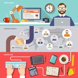 Freelance Banner Set. Freelance horizontal banner set with freelancer orders search workflow flat elements isolated vector illustration Royalty Free Stock Images