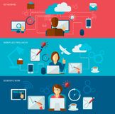 Freelance Banner Set. With networking freelancer workplace designer work isolated vector illustration Royalty Free Stock Photos